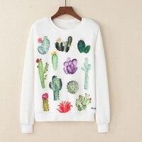 KaiTingu Women Fashion Hoodies Sweatshirt Casual Long Sleeve White Pullover Harajuku Cute Cactus Print For Autumn