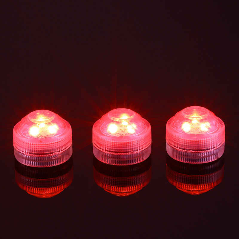 10 pcs/Lot CR2032 Baterai Dioperasikan 3 CM Putaran Super Terang RGB Multicolors LED Floralyte Submersible DIPIMPIN Cahaya Dengan Remote