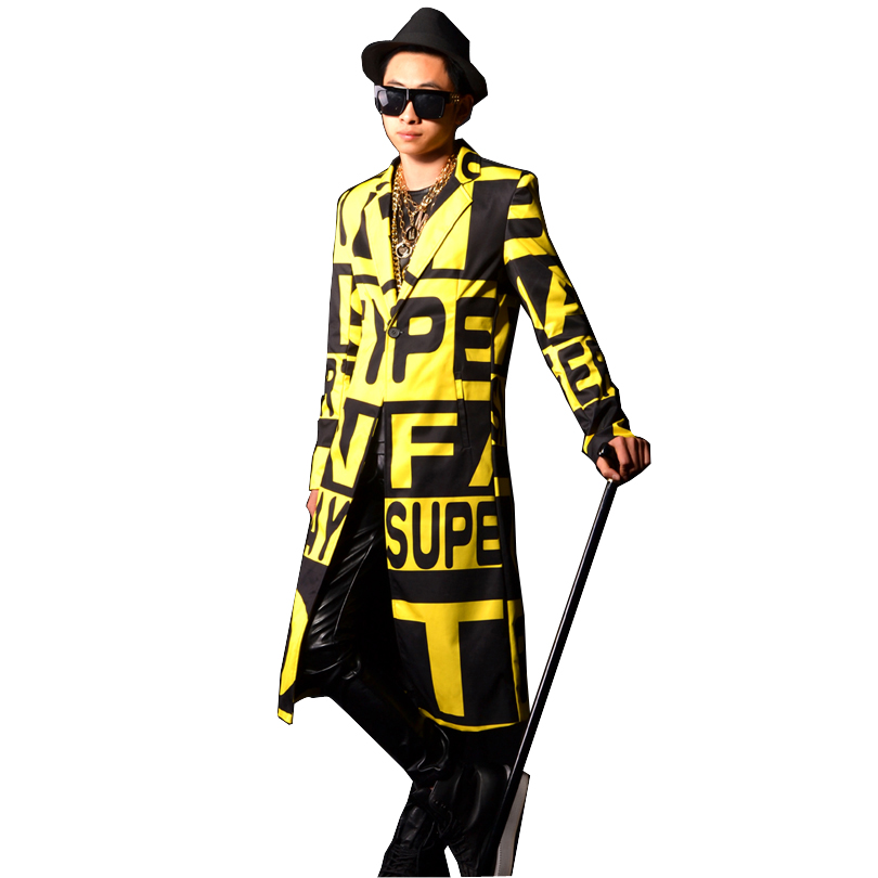 Letter Printing Male   Trench   Jacket Men Yellow Long Slim Fit   Trench   Coat Stage Fashion Show Custom Costumes
