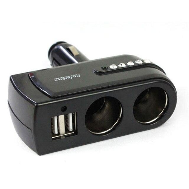 Nuevo 2 cargador USB + doble enchufe encendedor de coche extensor divisor de coche-estilo para cargador de teléfono móvil auto