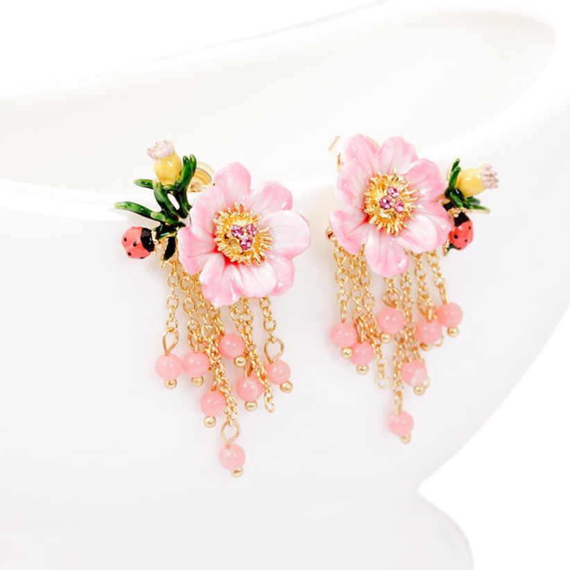 Juicy องุ่นดอกไม้สีชมพูแฟชั่น Hand Painted Enamel Stud ต่างหูเพื่อนเจ้าสาวต่างหูสำหรับเครื่องประดับสตรี