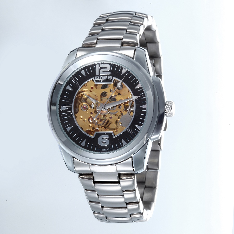 GOER brand Men s digital watches mechanical Automatic Male stainless steel waterproof Movement Skeleton Luminous