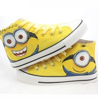 2015 New Arrival Boys Girls Special Minions Canvas Kids Brand Hand Painted Cartoon Shoes High Top