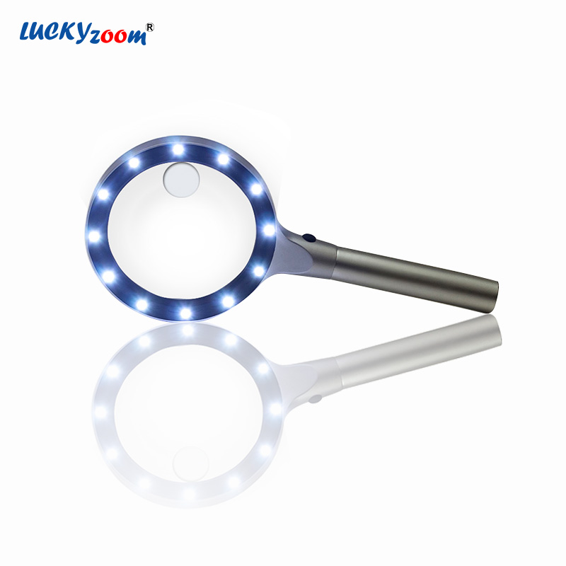Handheld LED Magnifier 10X Optical Glass Illuminated Magnifier Reading Repair Magnifying Glass With LED Light Jewelry Loupe Lupa цены