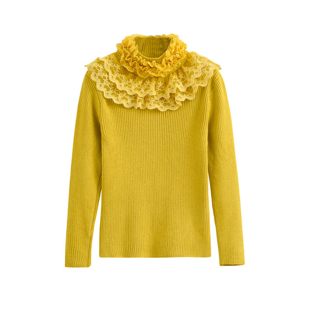 2faa5755b416 2T to 7T kids girls turtleneck lace ruffle knitted pullover princess ...