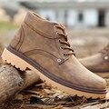 Botas de cazador de hombres zapatos cuñas baratos marrón/azul/negro tobillo botas de los hombres de otoño de cuero repujado super estrella zapato de hombre