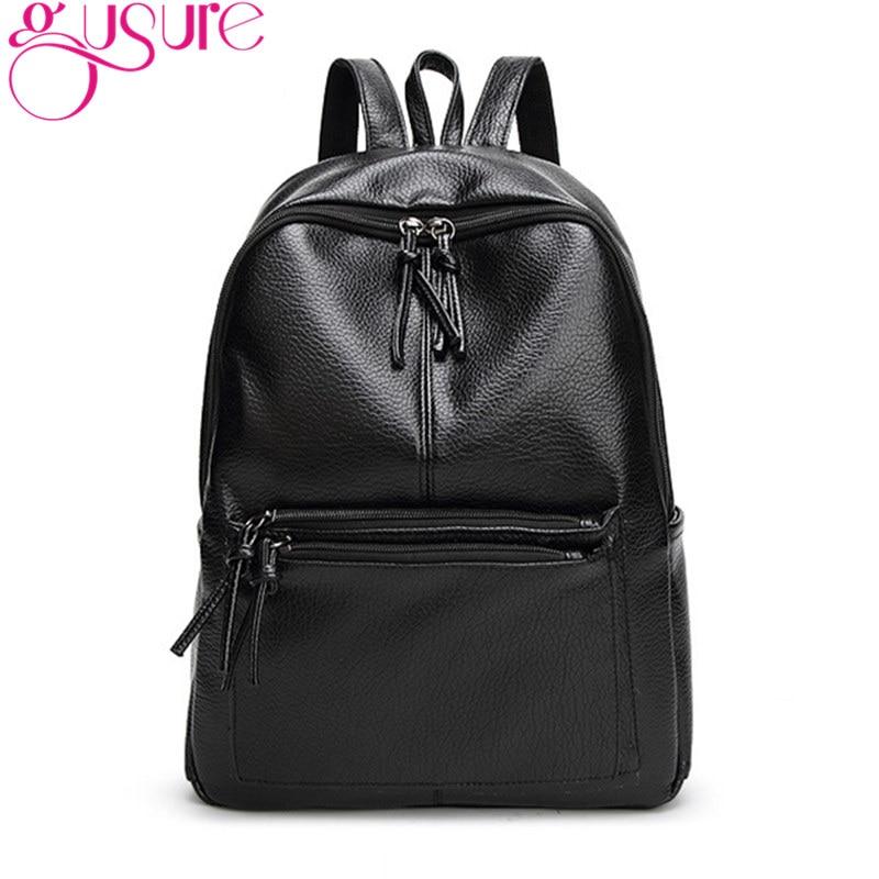 GUSURE New Fashion Backpack for Women Casual Backpack Leather School Bag Simple Style Student Book Bag Shoulder Bag Backpacks