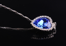 Romantic Titanic Ocean Heart Pendant Necklaces For Women Blue Crystal Rhinestone Choker Necklace Silver Plated Jewelry