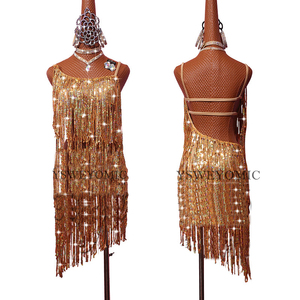 Image 2 - Profession Latin Dance Dress Women Adult Samba Costume Gold Tassel Competition Performance Wear Latin Dresses