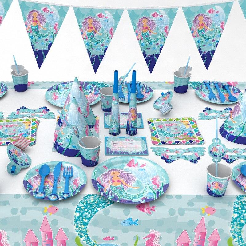 1 Pack Kleine Meerjungfrau Papier Tasse Platte Serviette Stroh Blowout Karte Hut Maske Gabel Knive Tischdecke Kinder Einweg Geburtstag Party SchöNer Auftritt