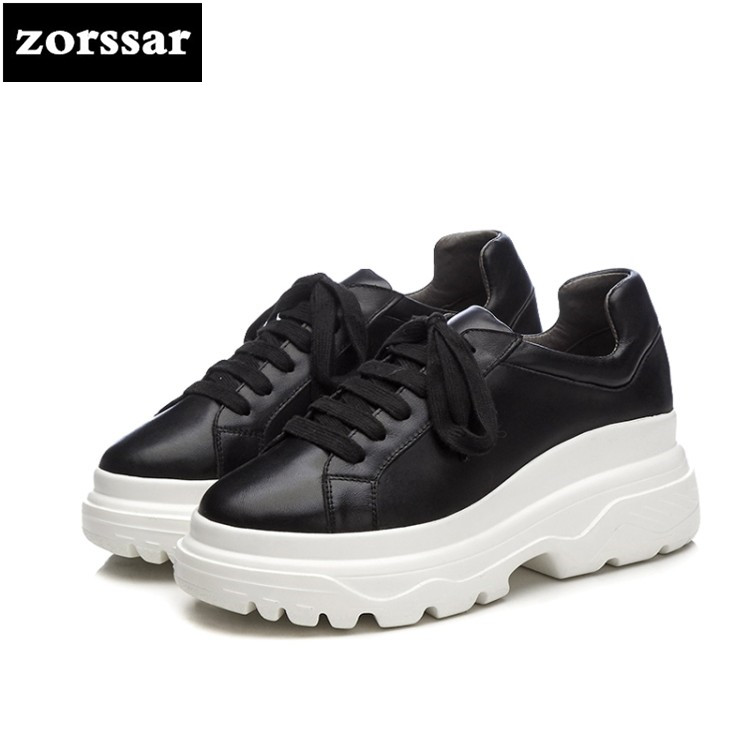 {Zorssar} 2018 New Genuine cow Leather Flats platform Women shoes Casual flat shoes Female sneakers shoes Student Sport Shoes instantarts women flats emoji face smile pattern summer air mesh beach flat shoes for youth girls mujer casual light sneakers