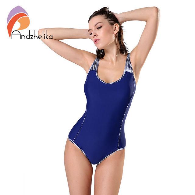 45b6c4b80 Andzhelika One Piece Swimsuit Plus Size Swimwear Women Solid Patchwork Swimwear  Sexy Halter Summer Bathing Suit Monokini Swim free shipping worldwide