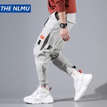 Hip Hip spodnie Cargo mężczyźni kostki długość spodnie męskie biegaczy Streetwear jednolity kolor 2019 wiosna kieszeń spodnie dla mężczyzna szary HD034 tanie tanio Pełnej długości Kostki długości spodnie Kieszenie Suknem Poliester Midweight Cargo pants THE NLMU Sznurek Luźne Hip Hop