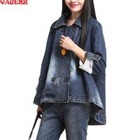 Autumn Women Jackets 2019 Autumn Women Vintage Casual Denim Jackets Double Breasted Plus Size Turn Down Collar Irregular Coats