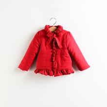 2017 мода зима стиль девочка куртки с длинным рукавом утолщаются пальто младенца хлопка бантом девушка утолщаются верхней одежды случайные дети куртка