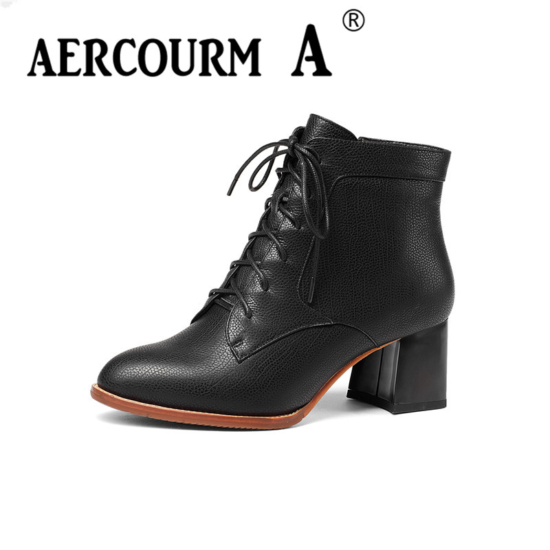 aercourm A Women Ankle Boots Western Cowhide Boots Winter Short Plush Shoes Genuine Leather Boots High Heel Footwear Zipper Z942 bob sinclar a western video story