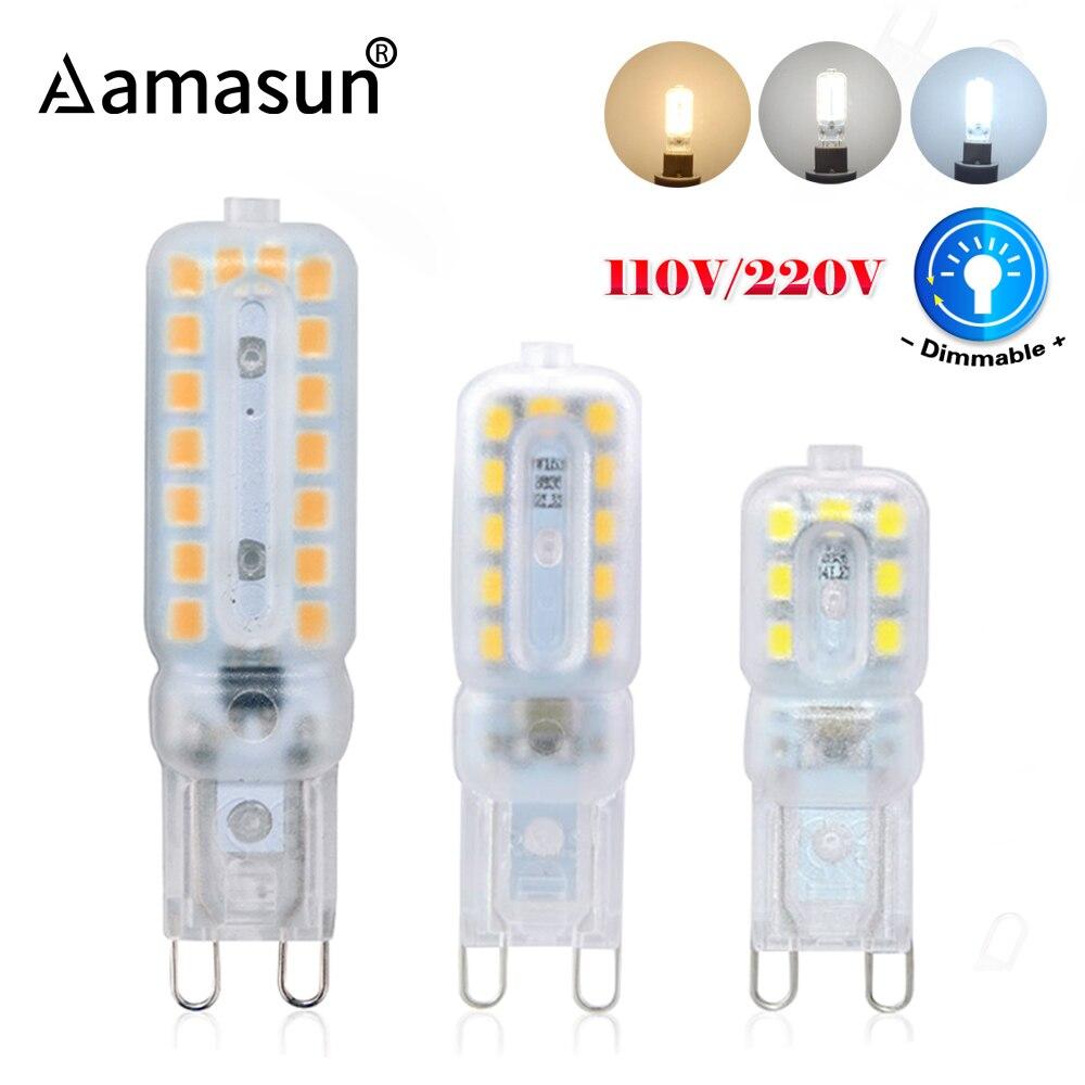 Светодиодный прожектор G9 с регулируемой яркостью, 10 шт., 220 В, 110 В, 14, 22, 32 светодиодный s, 3 Вт, 5 Вт, 7 Вт, светодиодный прожектор G9 2835SMD для замены ...
