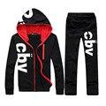 Casual hombres traje de ropa deportiva de impresión carta CBV chaqueta de la sudadera con capucha + pant capucha sudadera track top Joggingsuits hombres KP050