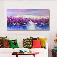 Large oil painting 100% hand painted abstract landscape oil painting on canvas wall art wall pictures for living room decoration claude monet oil painting on canvas landscape painting lotus painting wall pictures for living room hight quality hand painted