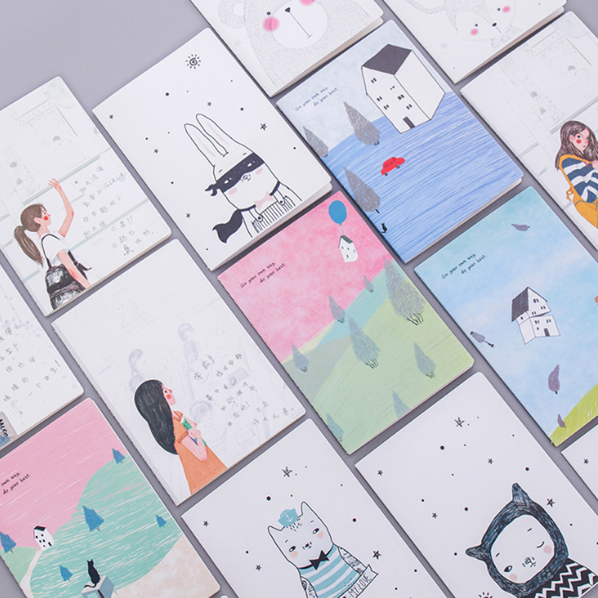 1pc lot Cute Korea Small Soft Cover Cartoon Cute Lovely Journal Diary Planner 32k Car Line A5 Notebook Mini Diary Notebook in Signature Guest Books from Home Garden