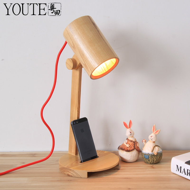 One Head Wood Table Lamp Modern Brief Fashion Wool Solid Wood Table Light  Free Shipping(