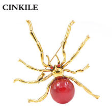 CINKILE Red Resin Bead Large Spider Brooches for Women Fashion Halloween Design Pins Insect Jewelry Autumn Jeans Badges Gift(China)