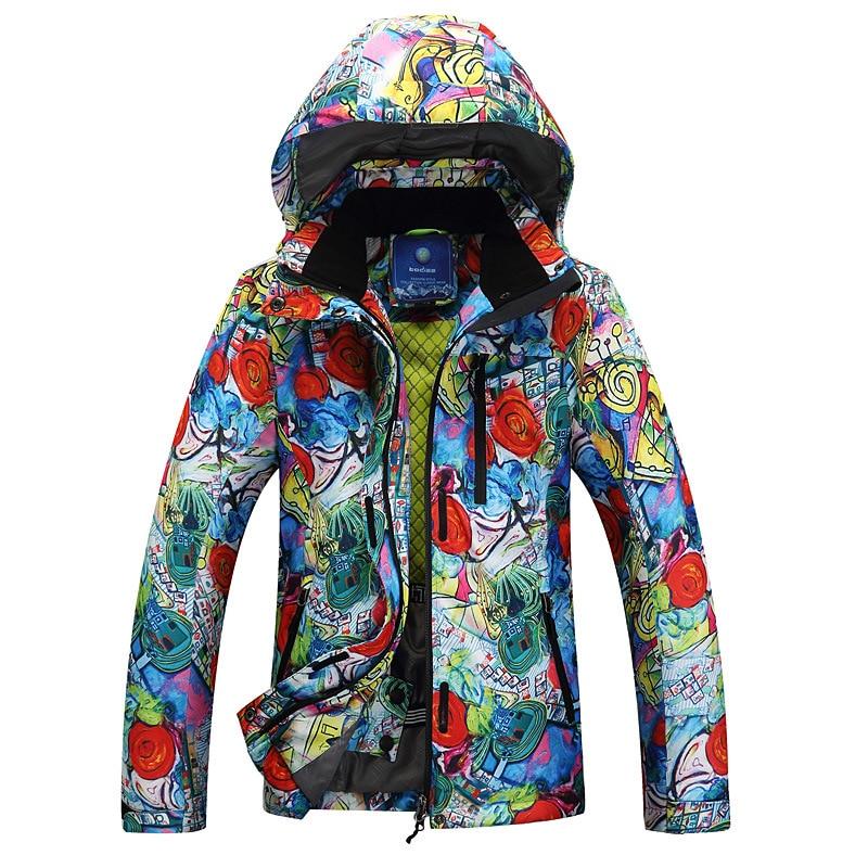 782c87c38e Chaqueta de esquí Mujer Flor Snowboard chaqueta impermeable Windstopper  invierno nieve ropa de abrigo