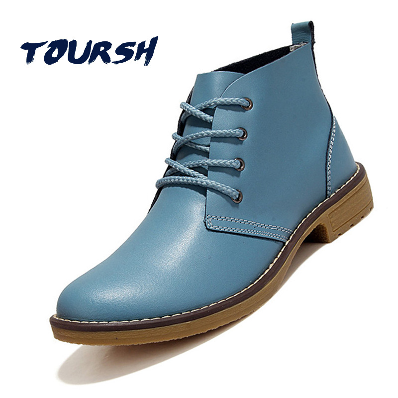 TOURSH Casual Shoes Woman Boots Flat Ankle Boots For Women Autumn Spring Blue Leather Boots For Women Ladies Oxford Flats Ankle platform women boots 2016 fashion casual shoes woman ankle boots slip on flats autumn spring wedges women shoes xwc831