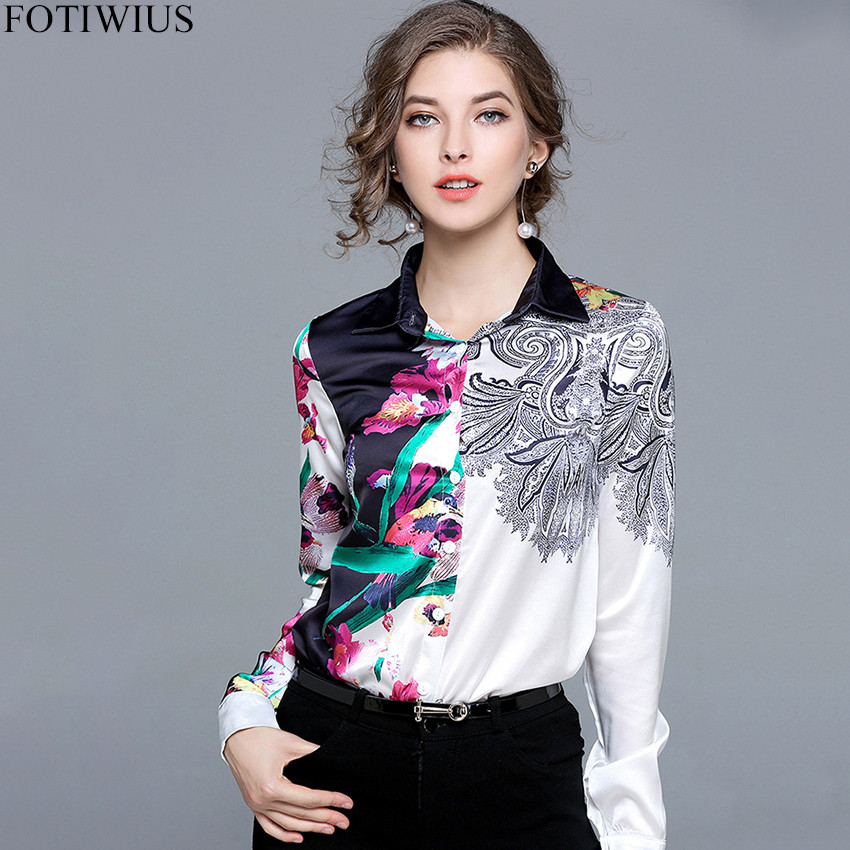 Runway Designer Woman Floral Print Long Sleeve Satin   Blouses     Shirts   Women Casual   Shirts   Tops 2018 Camisa Mujer Blusa Chemisier