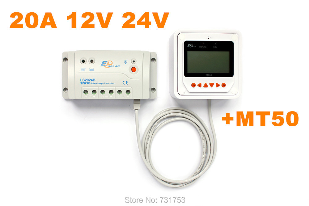 MAYLAR@ 20A 12V 24V Auto LS2024B Landstar Programmable Solar Charge Controller With MT50 Remote Meter LCD Display epsolar 20a lcd solar controller with remote meter mt50 pwm solar panel charge controller 12v 24v auto epsolar ls2024b wholesale