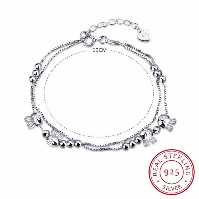 19cm Charm Bracelets For Women Pure 925 Sterling Silver Jewelry Link Chain Bileklik Women Spring-ring-clasps Bracelet Manchette