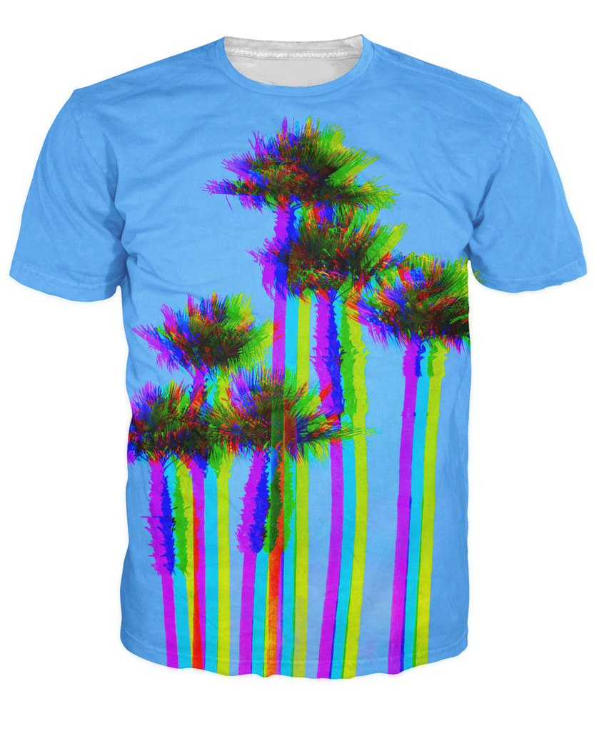 l a trees t shirt trippy looking palm trees 3d print t shirt women men fashion clothing summer. Black Bedroom Furniture Sets. Home Design Ideas