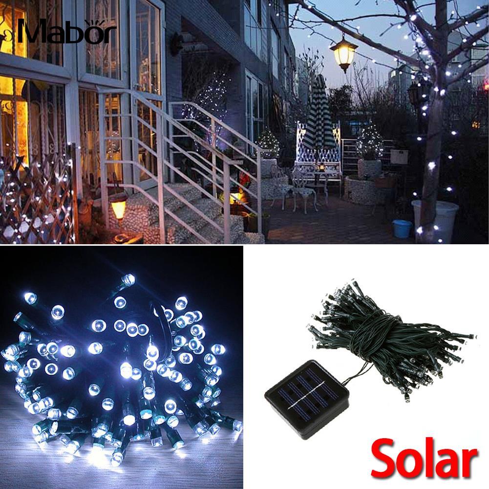 Solar Power 100LEDs Fairy String Light Lamp Bulb 12M For Xmas Garden Outdoor Decor White Waterproof