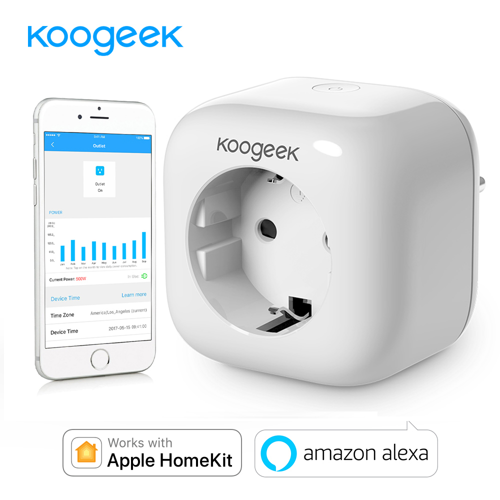 Koogeek Smart Sockel Wifi Stecker für Apple HomeKit Alexa Google Assistent EU Smart Home Plug Power Energy Monitor Siri Steuer