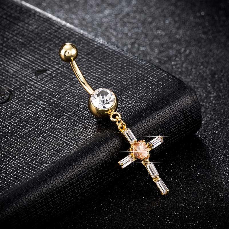 Luxury Body Jewelry For Women Shiny Crystal Inlay Cross -4935