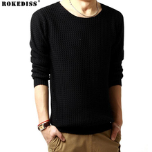 ROKEDISS Solid Color Pullover Men Sweater Men Long Sleeve Shirt Mens Sweaters Wool Casual Dress Brand Cashmere Knitwear Z201