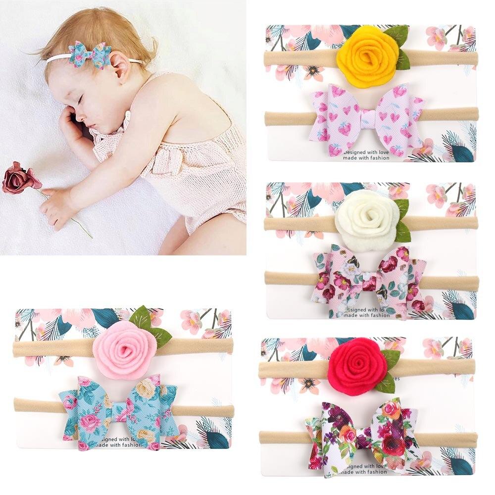 2PCS/Set Flower Headband for Baby Soft Nylon Hair Band Girls Handmade Leather Hairbows Head Band Children Kid Hair Accessories