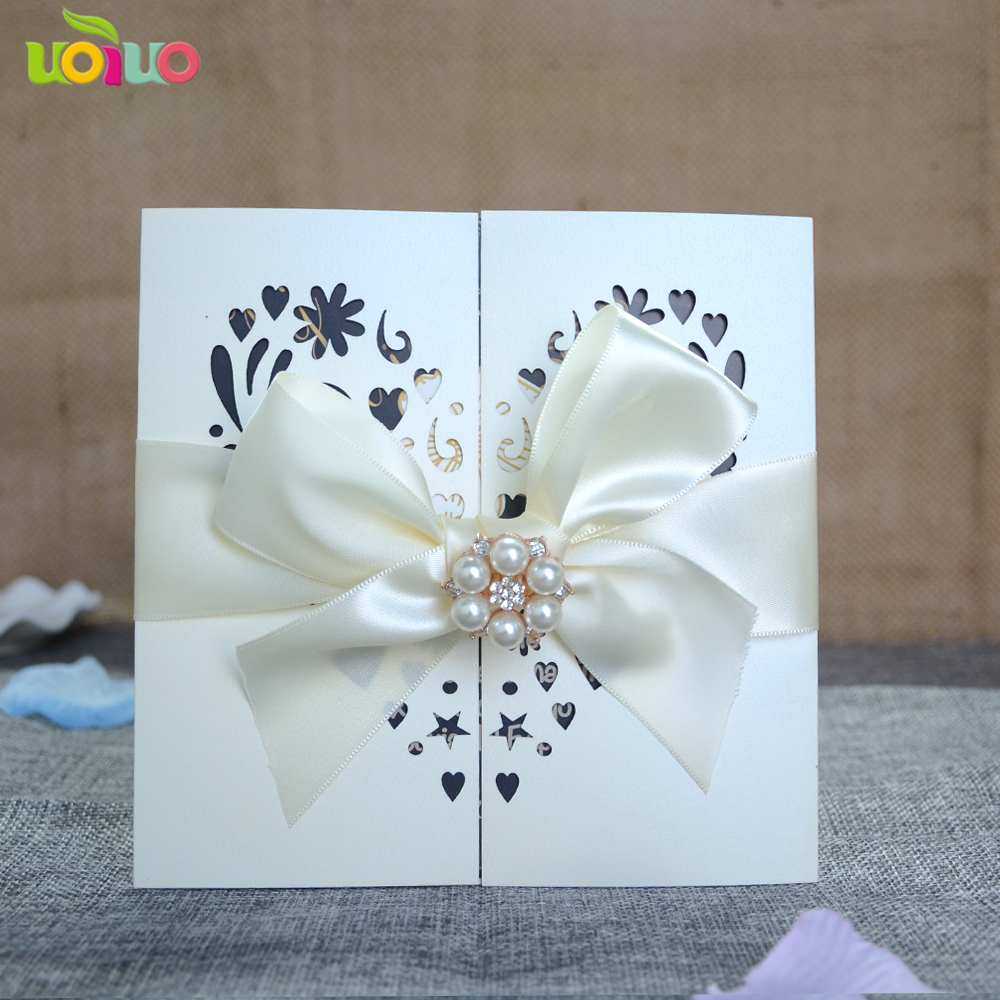 DIY 25set customize inc156 laser cut wedding invitation ...
