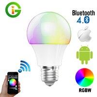 Bluetooth DOPROWADZIŁY Żarówki E27 RGBW 4.5 W Bluetooth 4.0 Inteligentne Oświetlenie Lampa Zmiana Koloru Ściemniania żarówka Led Światło Dla Domu Hotel/Partii