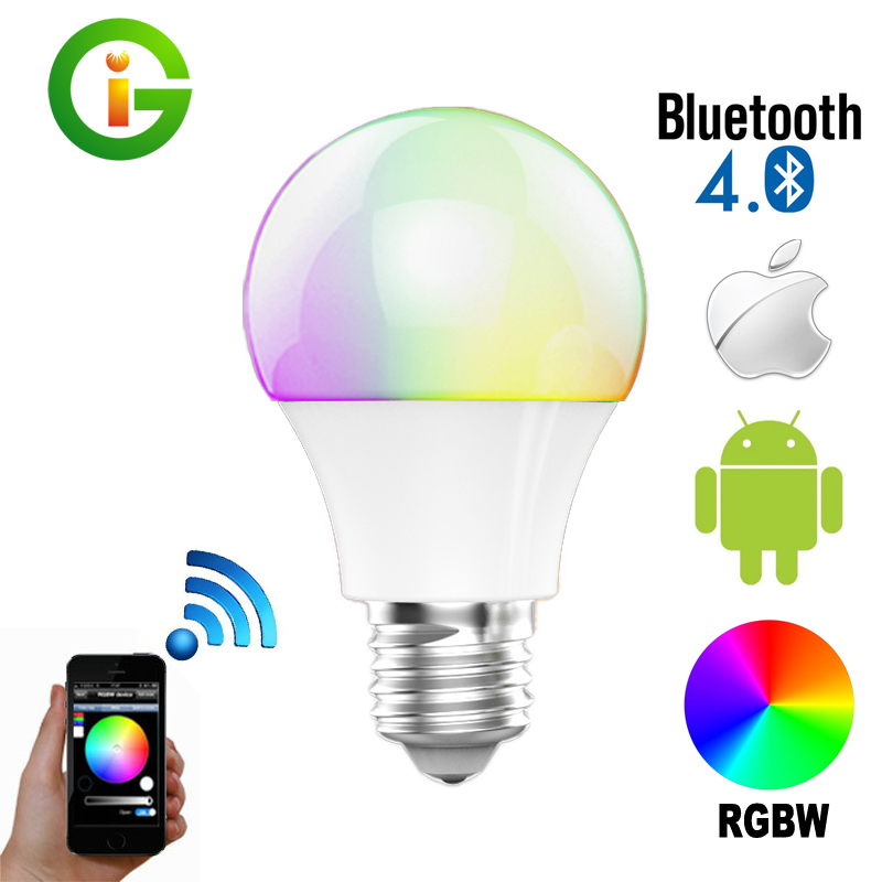 Bluetooth LED Bulb E27 RGBW 4.5W Bluetooth 4.0 Smart Lighting Lamp Color Change Dimmable Led bulb Light For Home Hotel/Party magic 7w e27 wifi rgbw led light bulb smart wireless remote control le lamp color change dimmable for home hotel ios android