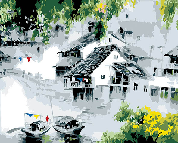 Jiangnan Water Township landscape painting coloring by numbers new arrival unique gift digital oil painting for living room