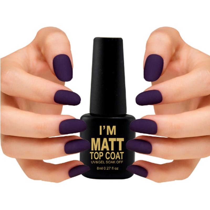 8ML Mat Top Coat UV Nail Gel Polonais Mat Noir Avec Nail Art Conseils Fini Matte Top Coat Gel Facile Propre Gel Vernish
