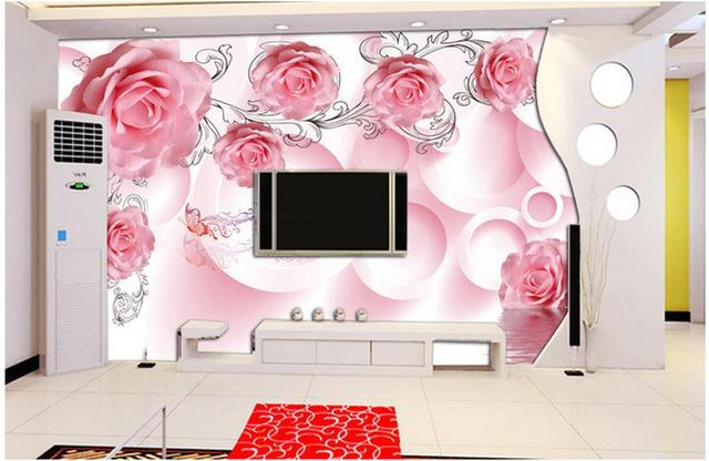 3d wall murals ,HD pink rose Vine wallpaper, High end mural for Tv ...