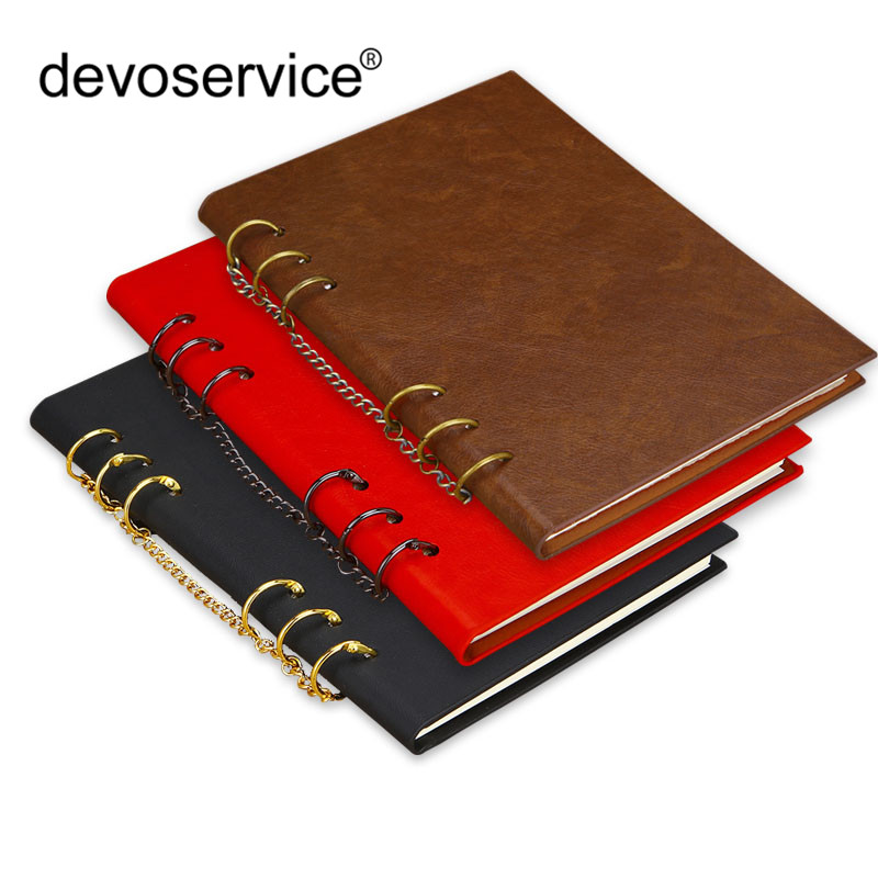 A4 A5 Leather Loose-leaf Notebook Journal Memos Punching Folder Notepad Booklet With Iron Ring Motebook Paper Office Supplies a4 lined a4 check paper notepad refills office document folder notepad paper drawing check format
