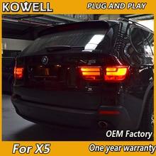 KOWELL รถจัดแต่งทรงผมไฟท้ายสำหรับ BMW E70 X5 ไฟท้าย 2007 2013 สำหรับ E70 ด้านหลัง DRL + ไฟเลี้ยว + เบรคย้อนกลับ