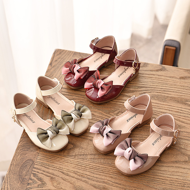 Baby Girl Leather Shoes Spring Autumn Sweet Princess Kids Flats With Bow-knot Kids Wedding Party Shoes For Girls Mary Janes New