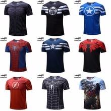Бесплатная доставка 2016 футболка Супермен/Бэтмен/человек-паук/капитан Америка/Халк/Iron Man/t рубашки мужчины фитнес рубашки мужчины футболки