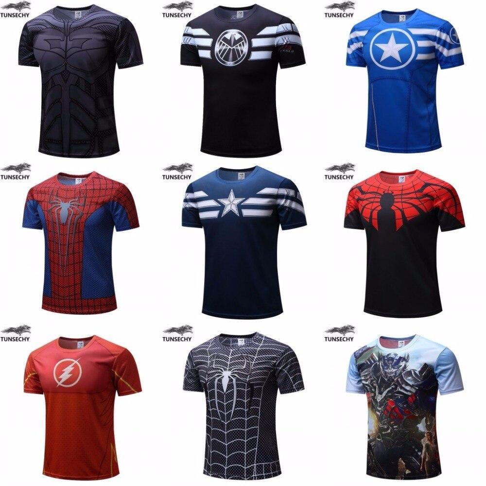 Livraison gratuite 2018 t-shirt Superman/Batman/spider man/captain america/Hulk/Iron Man/t chemise hommes fitness shirts hommes t chemises