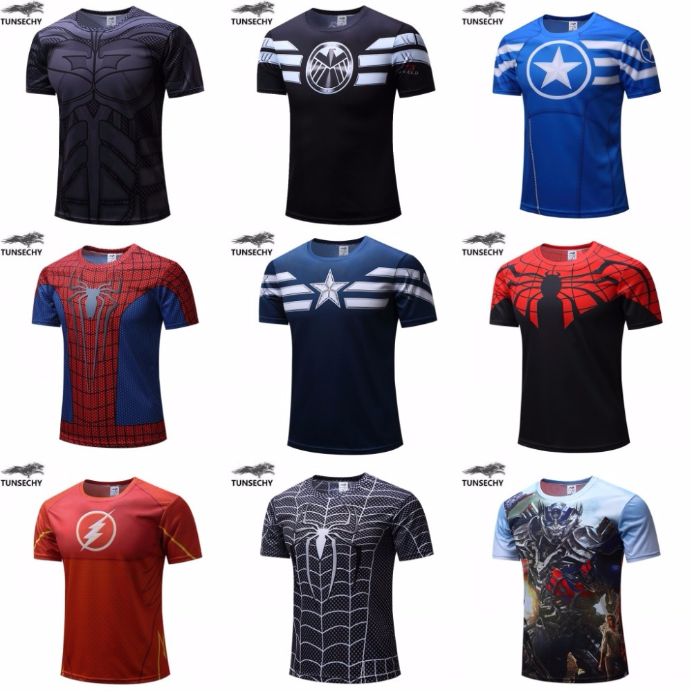 O envio gratuito de 2018 t-shirt Superman/Batman/spider man/captain America/Hulk/Iron Man/t camisa camisas dos homens t camisas dos homens de fitness