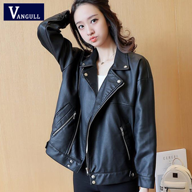 Vangull New Autumn Women Black Cool Oversize Lady PU   Leather   Jackets Sweet Female Zipper Faux Turn Down Collar Outwear Coat 2019